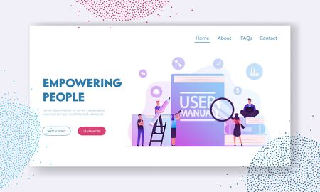 User Manual Website Landing Page. People with Some Office Stuff Discussing Content of Guide. People Read Book with Instructions Using Tech Equipment Web Page Banner. Cartoon Flat Vector Illustration