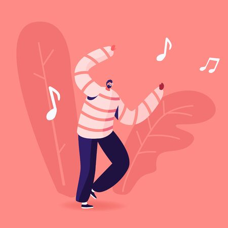 Mobile Music Application Concept. Young Man Dancing Sparetime and Active Lifestyle, Male Character Spend Time Moving Body at Disco Dance. Leisure or Hobby Movement Cartoon Flat Vector Illustration