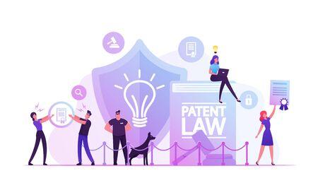 Concept de droit des brevets. Les personnes protégeant leurs droits pour la paternité et la création de différents produits mentaux Vecteurs