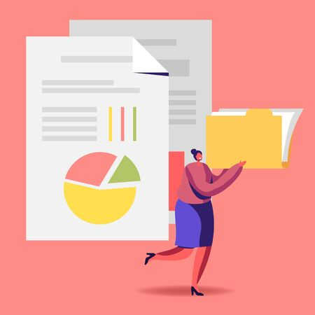 Audit Analysis Inspection Concept. Woman with Files Folder Analysing Accounting Data, Earnings Savings, Loan