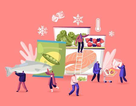 Tiefkühlkost-Konzept. Winzige männliche und weibliche Charaktere kaufen und kochen natürliche Eisprodukte, frisches Gemüse, Obst, Fleisch und Fisch. Gesundes Essen, Erhaltungs-Karikatur-flache Vektor-Illustration Vektorgrafik