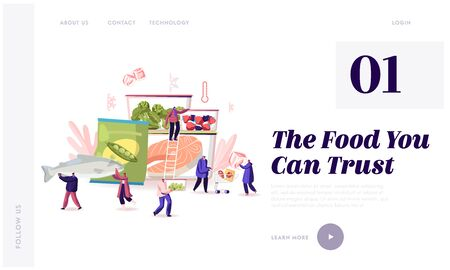 Frozen Food Website Landing Page. Characters Buying and Cooking Natural Iced Products Fresh Vegetable Illustration