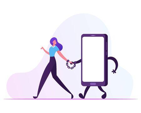 Gadget- und Networking-Sucht-Konzept. Junge lächelnde Frau, die zusammen mit riesigem Smartphone mit Handschellen gefesselt geht