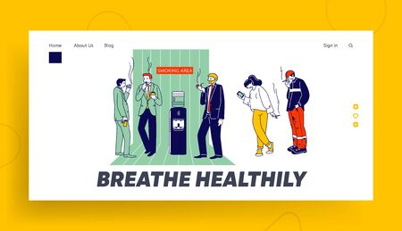 Smoking Addiction and Bad Unhealthy Habit Website Landing Page. Characters Stand near Water Cooler Drinking Coffee