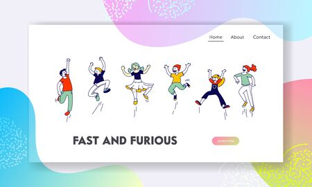 Happy Kids Stand in Row Dancing and Jumping Website Landing Page. Little Children Rejoice on Summer Time Vacation