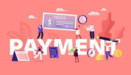 Payment Concept. People Paying Money for Services and to Bank Loan and Credit Using Cash and Paycheck