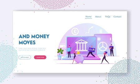 Fintech, Financial Technology, Digital Bank Service Website Landing Page. People Using Mobile Banking and Finance Management Ui for Mobile Payment Web Page Banner. Cartoon Flat Vector Illustration Stock Illustratie