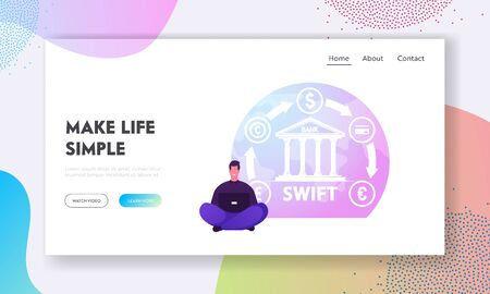 Swift, Society Worldwide Interbank Financial Telecommunication Website Landing Page. Businessman Sitting with Laptop at Bank with Money Transfer Icons Web Page Banner. Cartoon Flat Vector Illustration