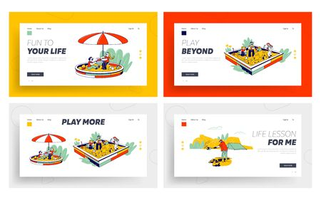 Children Playing in Sandbox at House Yard Place for Games Website Landing Page Set. Web Page Banner