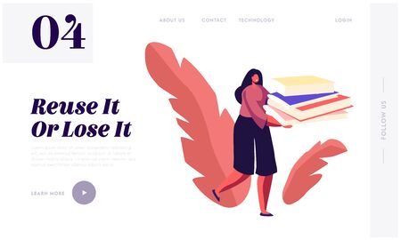 Paper Waste Sort, Recycle and Segregation Website Landing Page. Woman Carry Huge Pile of Wastepaper to Throw Garbage Vettoriali