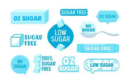 Set of 100 Percent Zero Sugar Free Icons, Badges or Banners, Healthy Food, Low Carb Nutrition, Product, Stickers
