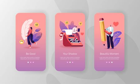 Literature and Writing Hobby Mobile App Page Onboard Screen Set. People with Typewriter, Feather Pen and Pencil Writing Books, Poetry Concept for Website or Web Page, Cartoon Flat Vector Illustration
