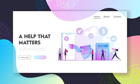 Micro Credit Finance Organization Service Website Landing Page. People Using Mobile Technologies for Taking Cash Money Loan in Bank with Huge Percent Web Page Banner. Cartoon Flat Vector Illustration Stock Illustratie