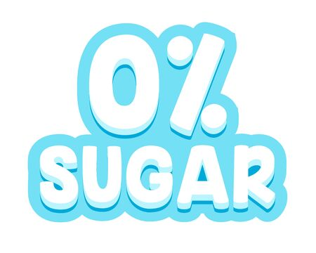 Zero Percent Sugar Typography for Banner, Badge for Healthy Diabetic Food and Products Package