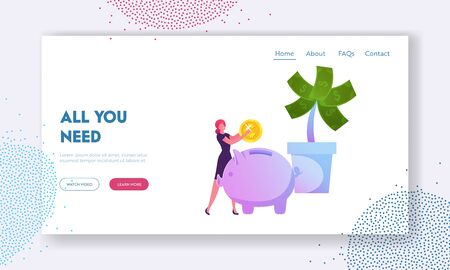 Investment Strategy, Savings and Capital, Finctech, Financial Technologies Website Landing Page. Woman Put Golden Coin to Piggy Bank near Money Tree Web Page Banner. Cartoon Flat Vector Illustration