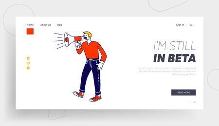 Public Relations, Affairs Website Landing Page. Man Shout to Megaphone or Loudspeaker. Alert Advertising Campaign