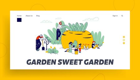 Gardening Hobby Website Landing Page. Farmers or Gardeners Family with Kids Planting and Caring of Trees Иллюстрация
