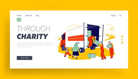 Governmental Help, Humanitarian Aid Website Landing Page. Volunteers Team in Van Giving Help Boxes to Refugees, Senior Woman with Little Boy Web Page Banner. Cartoon Flat Vector Illustration, Line Art