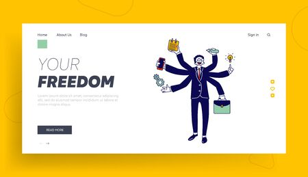 Business Man with Many Hands Multitasking and Self-employment Website Landing Page. Businessman Doing Multiple Tasks Stock Illustratie