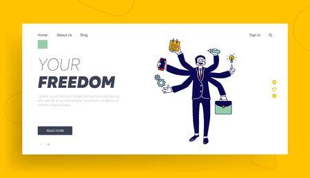 Business Man with Many Hands Multitasking and Self-employment Website Landing Page. Businessman Doing Multiple Tasks Иллюстрация