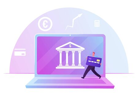Businessman with Huge Credit Card Passing by Laptop with Bank Building on Screen. Finctech, Financial Technologies, Cashless Payment, Wireless Online Money Transaction Cartoon Flat Vector Illustration