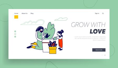 Mother and Daughter Gardening Hobby Website Landing Page. Woman and Girl Care of Plant in Garden, Watering