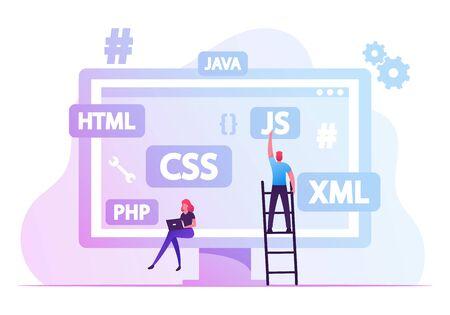 Software Development Concept. Programmers Make Site or Web Interface Project. Website Designer Developer Social Media Wireframe Front End Html Programming, Coding. Cartoon Flat Vector Illustration