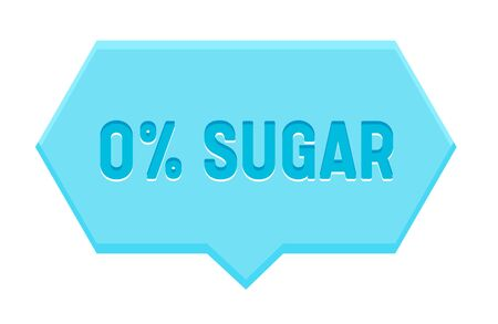 Zero Percent Sugar Banner, Hexagon Speech Bubble Isolated on White Background. Icon for Healthy Food