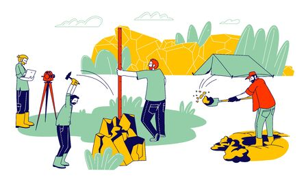 Group of Geologists Working and Digging Soil During Examination, Geology Outdoor Expedition, Camp at Wild Landscape, Procedures with Professional Equipment, Cartoon Flat Vector Illustration, Line Art