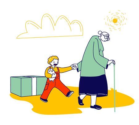 Senior Woman with Walking Cane Going with Little Boy to Get Humanitarian Aid, Vulnerable Social Groups, Poor People Need Help and Material Assistance, Cartoon Flat Vector Illustration, Line Art