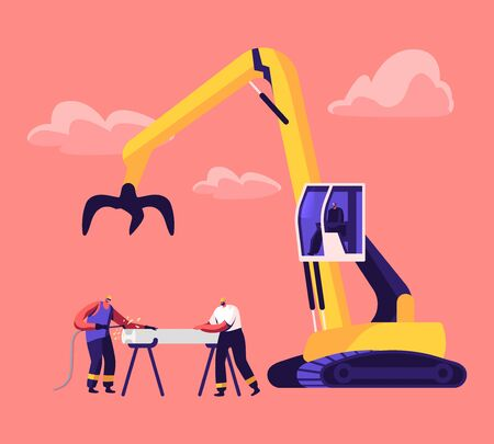 Scrapmetal Recycling and Reuse Concept. Couple of Workers in Uniform and Hardhat Welding Iron Rail, Crane Arm Loading Metal Scrap on Scrapyard. Manufacturing Process Cartoon Flat Vector Illustration