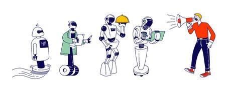 Robots, Artificial Intelligence in Human Life. Man with Megaphone Manage Cyborgs. Chatbot Help People, Ai Faq Service, Housekeeping Waiter, Business Assistant Cartoon Flat Vector Illustration Line Art Ilustrace