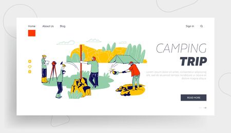 Geology Outdoor Expedition Website Landing Page. Geologists Work and Digging Soil During Examination Procedures with Professional Equipment Web Page Banner. Cartoon Flat Vector Illustration, Line Art