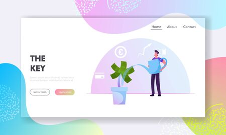 Investment, Finctech Financial Technologies, Savings Website Landing Page. Man Watering Money Tree with Dollar Banknotes. Man Grow Finance Wealth Web Page Banner. Cartoon Flat Vector Illustration Stock Illustratie