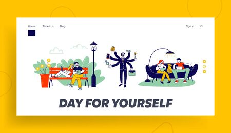 Self-employment and Multitasking Website Landing Page. Relaxed Freelancers Working Distant on Laptop