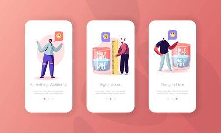 Optimist and Pessimist Mobile App Page Onboard Screen Set. Characters Stand at Huge Water Glass Discussing if it is Half Full or Empty Concept for Website or Web Page, Cartoon Flat Vector Illustration