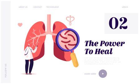 Tuberculosis Medical Pulmonological Care Website Landing Page. Respiratory Medicine, Healthcare and Pulmonology Иллюстрация