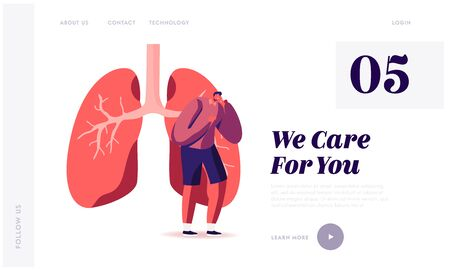 Respiratory Problems Website Landing Page. Man Coughing at Huge Diseased Lungs, Pulmonology Respiratory Examination