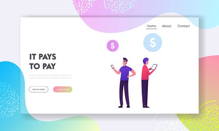 Swift, Payment Transaction Service Website Landing Page. Businessman and Businesswoman Using Society Worldwide Interbank Financial Telecommunication Web Page Banner. Cartoon Flat Vector Illustration