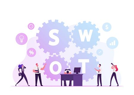 Swot, Analysis, Strengths, Weaknesses, Opportunities, Threats Concept. Businesspeople Working around Huge Cogwheels, Tired Businessman Lying on Desk with Computer Cartoon Flat Vector Illustration