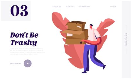 Paper Waste and Trash Recycle, Stop Pollution Website Landing Page. Volunteer Carry Old Carton Boxes. Ecology Protection Wastepaper Recycling Solution Web Page Banner. Cartoon Flat Vector Illustration Stock Illustratie