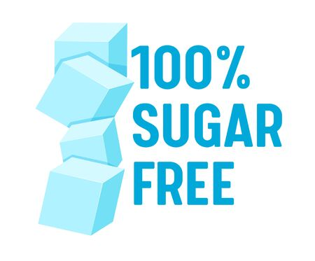 100 Percent Sugar Free Concept for Banner, Healthy Food, Low Carb Nutrition, Product, Blue Typography with Pile of Sugar Vectores