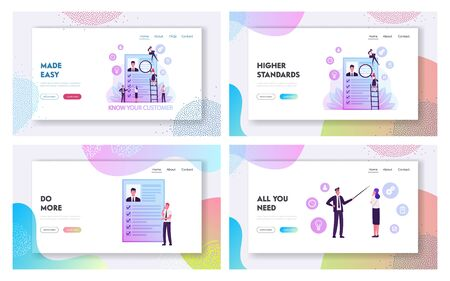 Kyc, Know Your Customer Process, Business Verifying of Clients Identity Website Landing Page Set. Businesspeople Learn Customer Profile, Human Resource Web Page Banner Cartoon Flat Vector Illustration