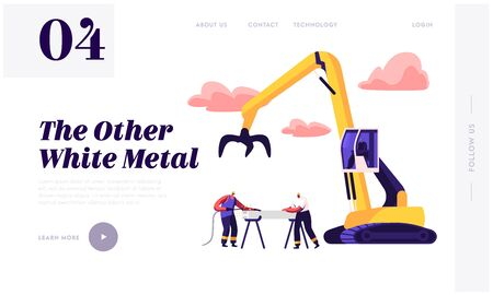 Crane Arm Loading Metal Scrap on Scrapyard Website Landing Page. Scrapmetal Recycling and Reuse. Workers in Uniform