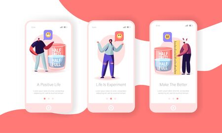 Positive and Negative Thinking Mobile App Page Onboard Screen Set. Pessimist and Optimist at Huge Half Full or Empty Glass with Water Concept for Website or Web Page, Cartoon Flat Vector Illustration Vectores