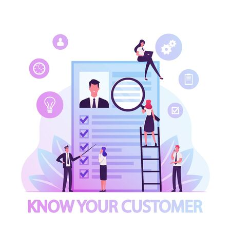 KYC or Know Your Customer Concept, Process of Business Verifying of Clients Identity and Assessing their Suitability, Tiny Businesspeople Learning Customer Profile Cartoon Flat Vector Illustration