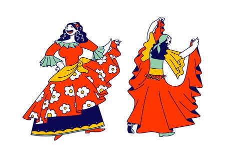 Couple of Beautiful Gypsy Women Dressed in Colorful Dresses, Shawl and Jewelry Dancing and Performing Dynamic Dance and Singing Songs, Romany Culture, Fun Cartoon Flat Vector Illustration, Line Art