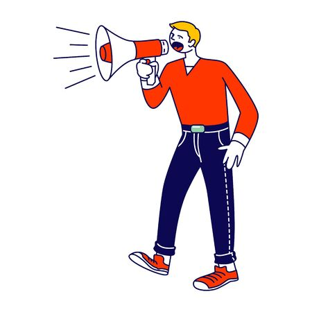 Online Public Relations, Affairs Concept. Man Shouting to Megaphone or Loudspeaker. Alert Advertising Campaign, Propaganda Speech, Pr Social Media Promotion. Cartoon Flat Vector Illustration, Line Art Illustration