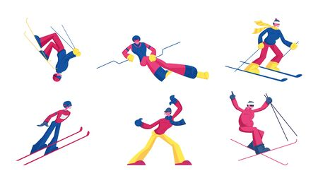 Set of Sportsmen Freestyle Skiing Jump. Winter Sport Activity Combine Skiing and Acrobatics Stunts. Aerialist Skiers Making Somersault Extreme Tricks over Springboard Cartoon Flat Vector Illustration