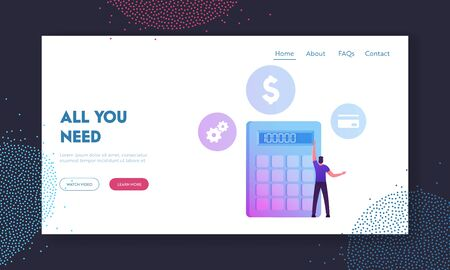 Man Take Money Credit at Micro Finance Organization or Bank Website Landing Page. Character Stand at Huge Calculator Counting Income, Profit or Loan Web Page Banner. Cartoon Flat Vector Illustration